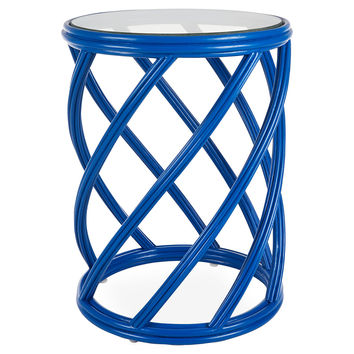 Madison Rattan Side Table, Blue, Standard Side Tables