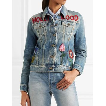 Trendy New Women's Loose long-sleeved Jacket embroidered Cowboy Jacket jacket Women's Denim Jacket Graffiti XL AT_94_13