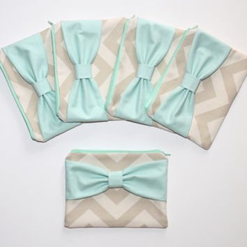 Bridesmaid Gift Set - Natural Beige Chevron Mint Bow - Wedding Cosmetic Cases / Bachelorette Favors - Choose Quantity and Bow Style