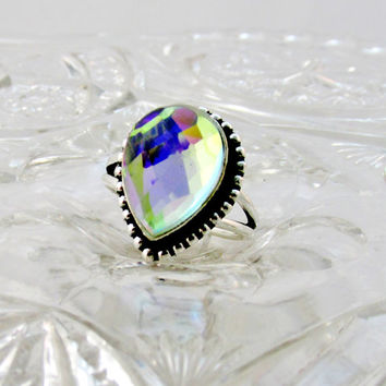 Vintage Ring Rainbow Topaz On 925 Silver Size 7.5 Mystic BlueTopaz December Birthstone Collectible Gift Item 1470