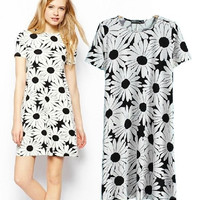 Women's Fashion Floral Print Short Sleeve Slim Skirt One Piece Dress [5013387652]