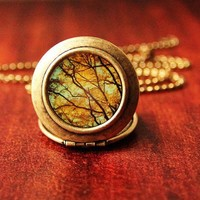 Leaves Of Gold Photo Locket by heartworksbylori on Etsy