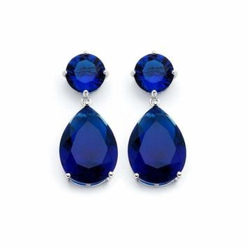 .925 Sterling Silver Rhodium Plated Round Teardrop Blue Sapphire Cubic Zirconia Dangling Earring