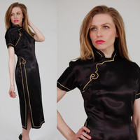 Vintage 50s Black Satin CHEONGSAM Retro ASIAN Ethnic Dress Small