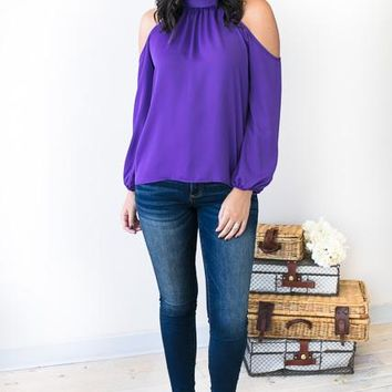 Sound of Satin Purple Cold Shoulder Top