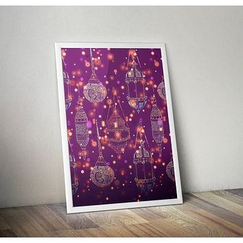 Purple Lamps Poster Bohemian Art Print Poster Moroccan Design no frame 20x30 Large