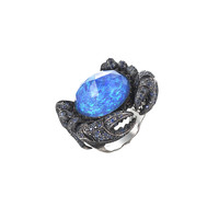 Stephen Webster - 18K White Gold Sapphire & Black Diamond Crab Ring