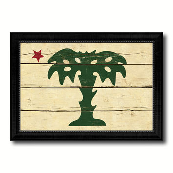 South Carolina Palmetto Guard Military Flag Vintage Canvas Print with Black Picture Frame Home Decor Wall Art Decoration Gift Ideas
