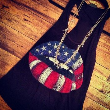 Women Basic 2017 Tank Crop Top American Flag Lip Tops Loose Casual Cropped Tanks O Neck Summer Female Sleeveless All Match