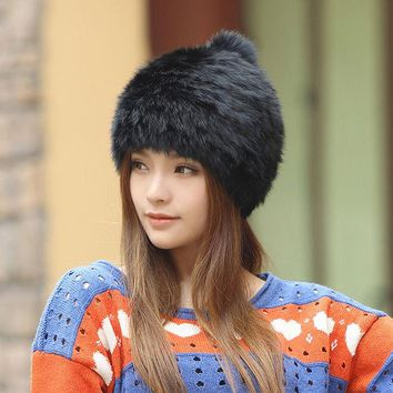 LMF9GW High quality Fashionable winter hats for women Rabbit Fur beanie Knitting wool Real Fur Casual cute girls cap free shopping
