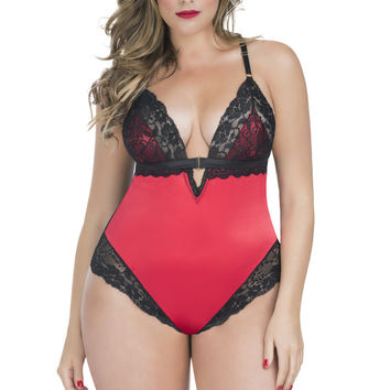 Ophelie Plus Size Satin Teddy