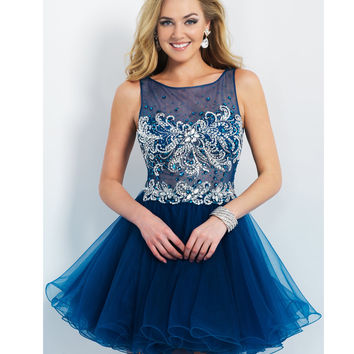 Preorder - Intrigue by Blush INT91 Midnight Blue Illusion Bodice Tulle Dress 2015 Homecoming Dresses