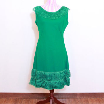 1950s Fringe Dress / VINTAGE / 50s / Wiggle / Kelly Green / Tassels / CHIC