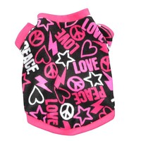 Lovely Small Pet Dog Cats Clothes Jackets Puppy Print T Shirt Warm Dog Coat Costumes