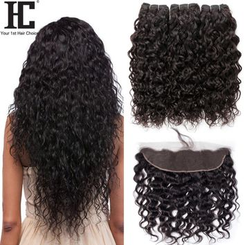HC Human Hair Water Wave Bundles With Lace Frontal Closure Brazilian Hair 3 Bundles Deal With 13x4 Closure Remy Human Hair Weave