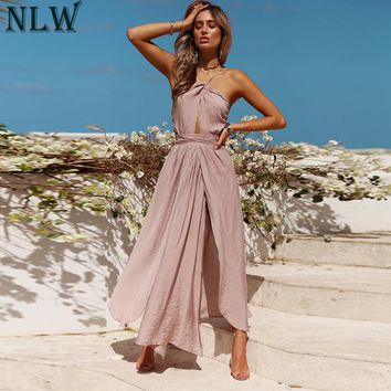 NLW Women Sexy Halter Maxi Dress Summer Backless Wrap Dress Female Solid Elegant Dresses Lady Beach Party Wedding Vestidos