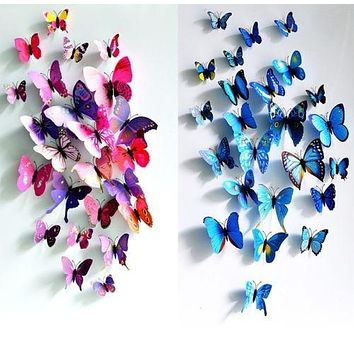 Fashion Room Decorations 3D Butterfly Sticker Art Design Decal Wall Stickers Home Decor