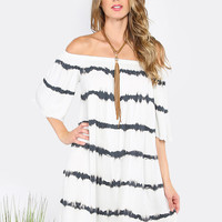 Striped Tie Dye Off The Shoulder Frayed Dress WHITE | MakeMeChic.COM