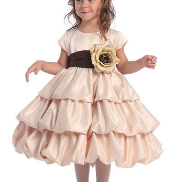 Satin Bubble Flower Girl Dress - Champagne BL204