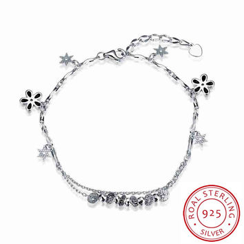925 silver jewelry bracelets Hanging flower heart men bracelet jewelry display STVH 32 MP