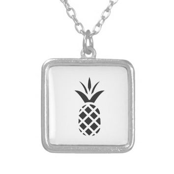 Black Pine Apple Silver Plated Necklace