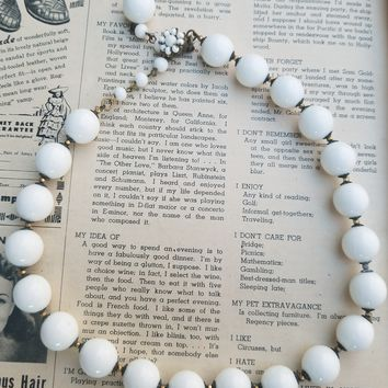 Miriam Haskell beaded white milk glass necklace with flower clasp signed vintage necklace