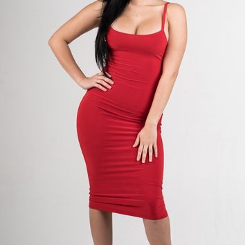 Red Essential Body-Con Midi Dress