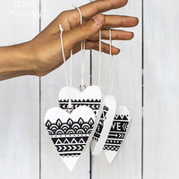 Painted wooden heart wall hanging, Boho wedding decor, Black and white heart ornaments, Wood nursery or kids room decor, Wood wedding favors