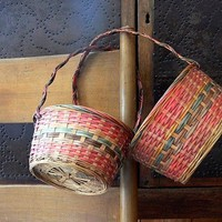 Two Colorful Vintage Baskets TREASURY LIST by EitherOrFinds