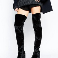 ASOS KEATS Velvet Platform Over The Knee Boots at asos.com