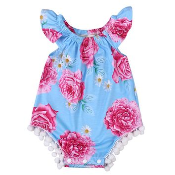Summer Baby Girls Clothing Toddler Baby Girls Floral Tassle Romper Jumpsuit Kids Clothes Outfit Sunsuit