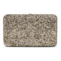 Women's Chunky Glitter Pushlock Clutch Wallet - Gold