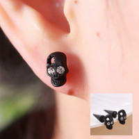 New Fashion Black Jewelry Punk skull head Stud Earrnigs For Women