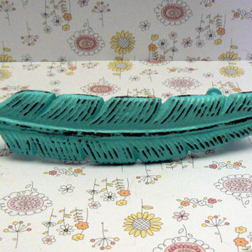 Feather Bohemian Boho Bright Turquoise Aqua Blue Handle Pull Cast Iron Shabby Style Chic Cabinet Drawer Retro Funky Southwest 70's Style