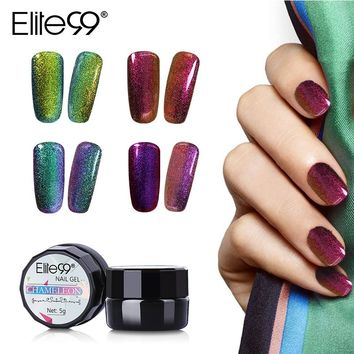 Elite99 Soak Off Bling Chameleon Changing Color Gel Polish UV LED Varnish 5ml UV Base Top Coat Nail Gel Polish On Sale