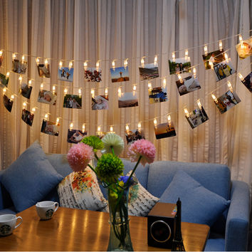 2.2M LED Lights Chains Creative Lamp Clip Flash Photo Wall Decoration Lamp Birthday Valentine's Day Party Lighting Warm White