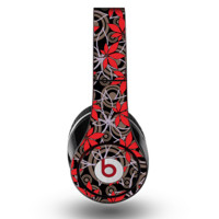 The Red Icon Flowers on Dark Swirl Skin for the Original Beats by Dre Studio Headphones