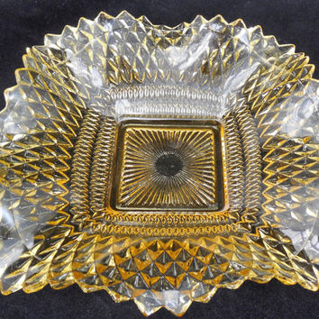"""Vintage Federal Glass 7"""", Traditions Pattern with Ruffled Edge, Vintage Yellow Dish"""