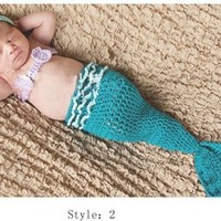 Cute Crochet Knitted Baby Hats Girl Boy Diaper Cover Set Photo Prop