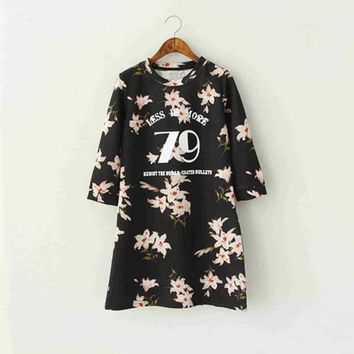 Stylish Round-neck Long Sleeve Cotton Print Slim Women's Fashion Dress One Piece Dress [4919014596]