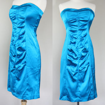 1980's teal blue satin strapless formal cocktail 80's body con prom dress medium large size 8 10