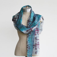 hand painted silk scarf, screen printed, hand dyed, unique scarf