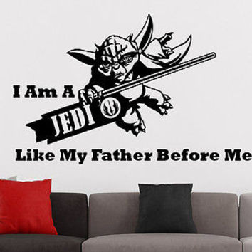 Star Wars Wall Decals Quotes Yoda I Am A Jedi Like My Father Before Me Decor C46
