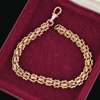 Antique Edwardian Mens Rose Gold Chain Bracelet