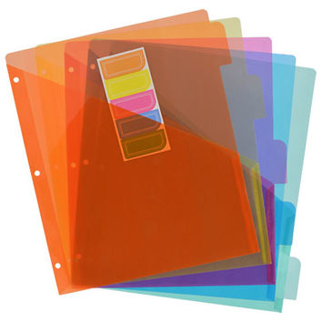 Bulk Jot Bright Plastic Index Dividers with Pockets, 5-ct. Packs at DollarTree.com