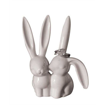Bunny Love Ceramic Rabbit Ears Ring Holder - 4-in