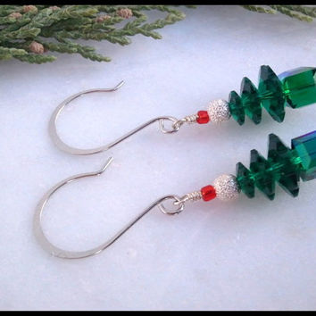 Emerald Green Swarovski Crystal Christmas Tree Earrings | Women's Swarovski Crystal Christmas Tree Earrings | Lady Green Eyes Jewelry