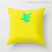 Pineapple Fruit 16x16 Graphic Decorative Cover Yellow Green Tropical Sweet Tropics Leaves Foliage Lime Green Neon Lemon Couch Art Decorative