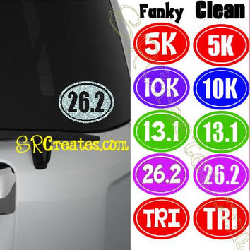Race Distance Car Decals - 26.2, 13.1, 10k, 5k