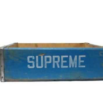 Vintage Soda Crate Supreme Jamestown NY Blue Wooden Box